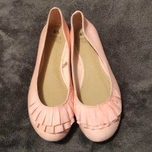 Pink flats with ruffles